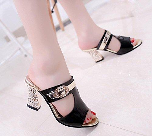Sommer hohle hochhackige Schuhe mit dicker Diamantgürtelschnalle Frauen Fischmund weibliche Sandalen und Pantoffeln Sandalen Black