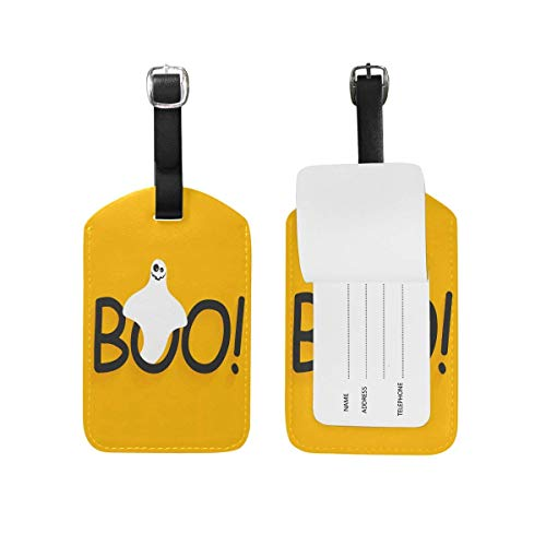 Ptrfedss Boo Yellow Halloween Luggage Tag Set of 2 Cruise Ship Women Men Kid Suitcase Label Travel ID Handbag Tag with Buckle Leather]()