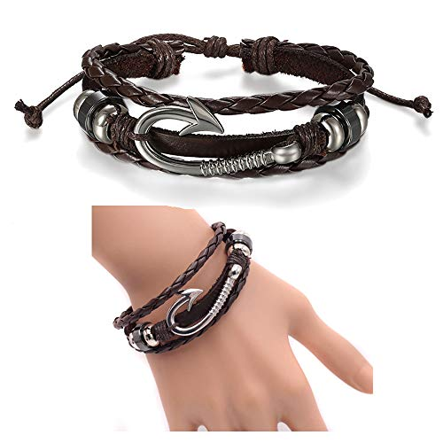 Bohemian Alloy Wave Coconut Tree Banana Tree Palm Tree Multi-layer Chain Bangle Bracelet for Women Man Beach Jewelry (Brown) -