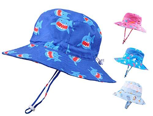 Baby Sun Hat Toddler Kids UPF 50+ UV Ray Sun Protection Wide Brim Bucket Swimwear Animal Hat (1-2 Years, Blue Shark)