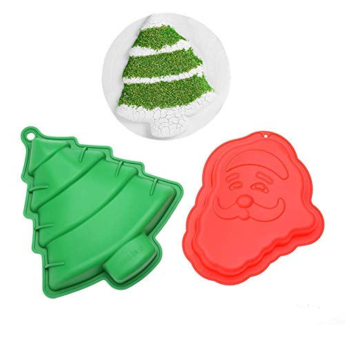 Christmas Jello Mold - ESA Supplies Large Size Christmas Tree and Santa Claus Silicone Molds for Soap Muffin Cups Jello Chocolate Biscuit Baking Tray Mousse Cake Pudding Dessert Molds for Christmas Holiday