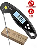 Habor Digital Meat Waterproof Thermometer Ultra Fast Kitchen Thermometer Instant Read with Ambidextrous Backlit & Reversible Screen Magnetic for Chicken Turkey Grill BBQ Water Candy Liquid