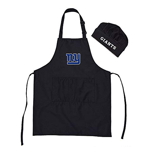 Gloral HIF New York Giants Chef Hat Apron BBQ Aprons Barbeque Aprons Cook Pinafore with Pockets ()