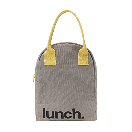 (Fluf Reusable Canvas Lunch Bag | Lunch Box for Women, Men, Kids | Organic Cotton Meal Tote with Zipper | Grey)