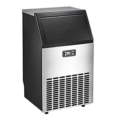 AGLUCKY Commercial Ice Maker, High Efficiency Large Ice Maker, Independent Cabinet for Party Gathering, Restaurant, Bar, Coffee Shop,100lb of Ice per 24 hours with Ice Shovel