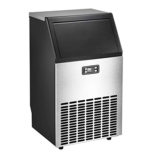 AGLUCKY Commercial Ice Maker Machine High Efficiency Large Ice Machine Independent Cabinet,28.8lbs Storage,100lb/24h with Ice - Cleaning Self Commercial Range