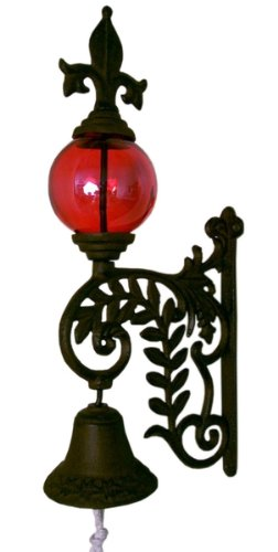 Iwgac Home Indoor Outdoor Cast Iron Bell With Glass Gazing Ball Hanging Wall Decor Red