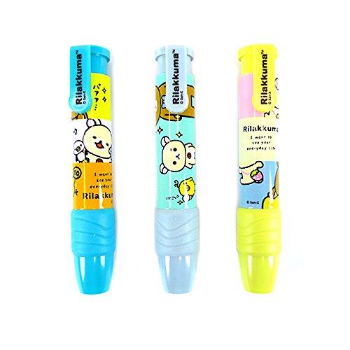 New Rilakkuma Knock Type Pen Style Push Eraser : 3 Designs 1 Set