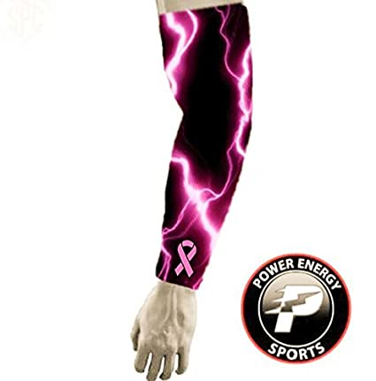 0b86e2dc3c Breast Cancer Awareness Pink Ribbon Football Baseball Compression Arm Sleeve  - (SMALL) Pink Lightning