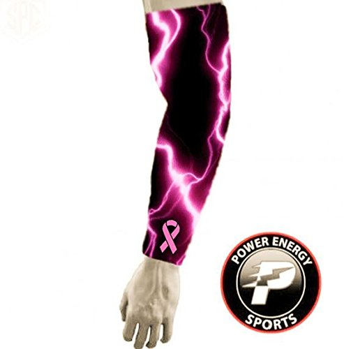 Breast Cancer Awareness Baseball Football Compression Arm Sleeve - Pink Ribbon Lightning