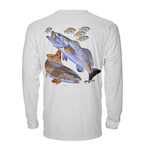 Denali Performance Men's UPF 50+ ProtectUV Mega Solar Long Sleeve T-Shirt Designed by Carey Chen: Red & Trout White ()
