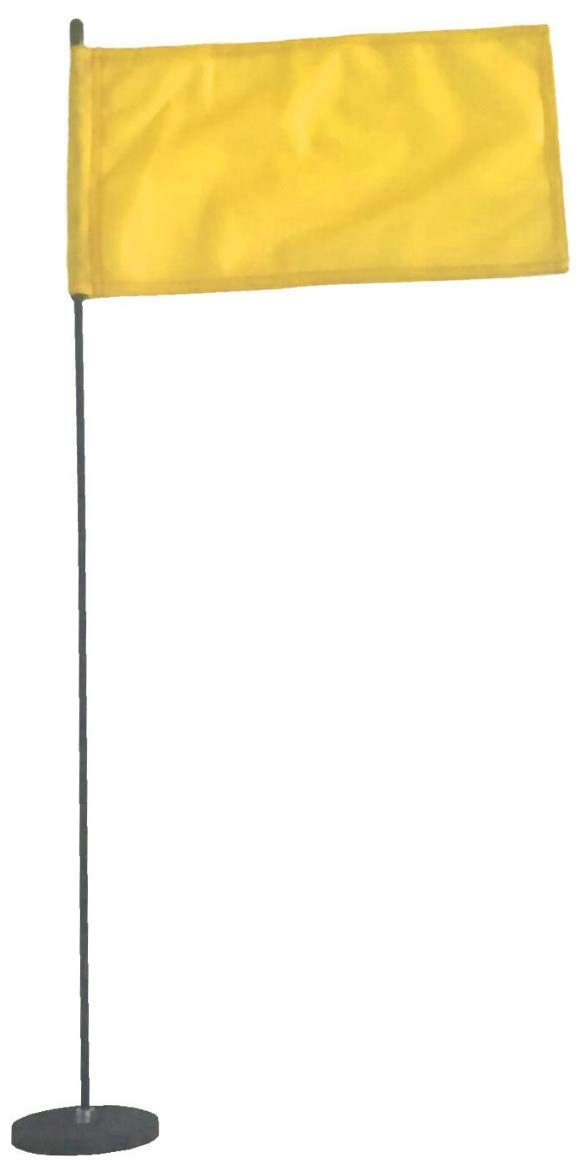 Magnetic Base Flag Holder - Hold Force 44 lbs. Flex Steel Spring Pole 16 inch (8 x 13) Yellow Flag