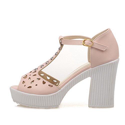 AgooLar Women's Peep Toe High Heels Solid Buckle Sandals Pink y8EGN