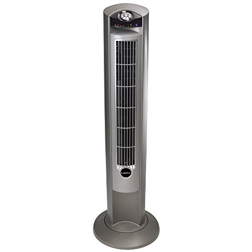 Lasko T42951 Wind Curve Portable Electric Oscillating Stand Up Tower Fan with Remote Control for Indoor, Bedroom and Home Office Use, Woodgrain, 13x13x42.5 Silverwood (Renewed)
