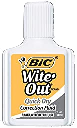 Wite Out Quick Dry Correction Fluid, 12-Count  Boxes