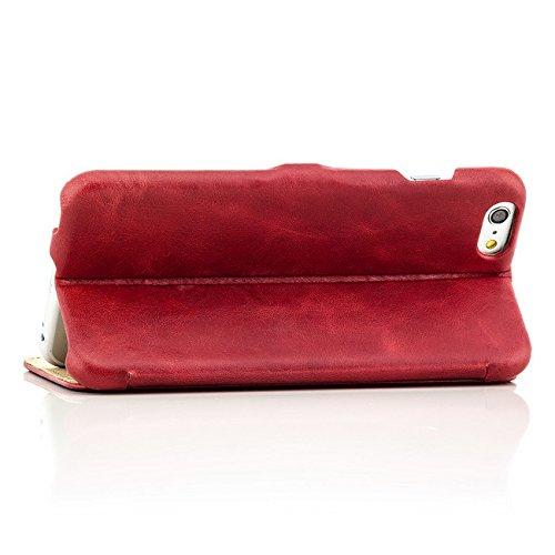 Original iCareR Echt Leder Tasche Vintage Case für Apple iPhone 6 Plus / 6S Plus Premium Schutzhülle mit Magnetverschluss Kartenfach | Glattleder Oberfläche Rot