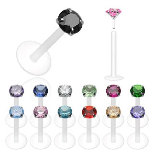 (Bio-Flex Shaft with Push-in .925 Silver Prong Gem Labret/Monroe 16g 3/8