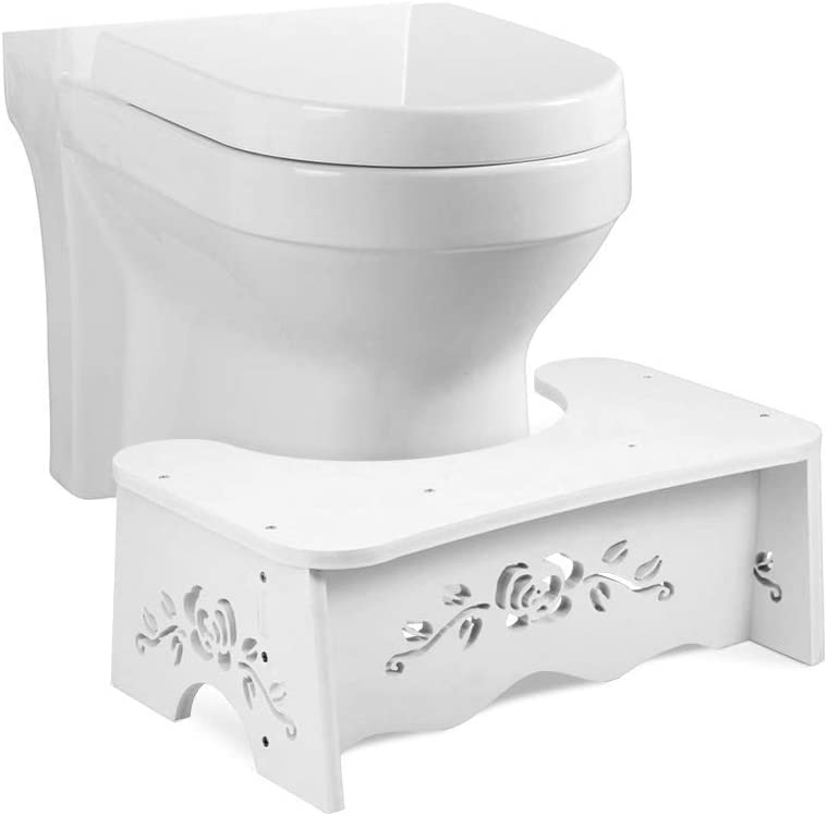 Bathroom Squat Toilet Stool, White 7Inch Bathroom Squatting Toilet Stool, Comfortable Squat Aid for Kids, Toddlers, Adults