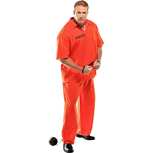 AMSCAN Inmate Convict Prisoner Halloween Costume for Men, Plus Size -