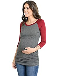 Women's Baseball Crew Neck Raglan Maternity T-Shirts Top