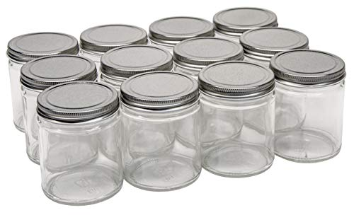 North Mountain Supply 9 Ounce Glass Straight Sided Mason Canning Jars - with 70mm Silver Metal Lids - Case of 12