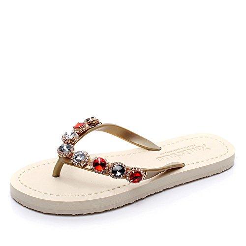 Golden Diamantes Playa Dulce Antideslizantes Plano De Chanclas Chengxiaoxuan Moda Sandalias Romanos Fondo Colores Zapatos Llevando Mujer wZgXaPx