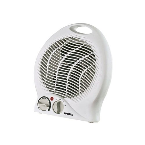 Optimus Portable Fan Heater with Thermostat - Electric - 750 W to 1500 W - 2 x Heat Settings - 150 Sq. ft. Coverage Area - 600 W - 13 A - Portable - White