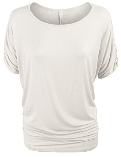 KOGMO Womens Solid Basic Womens Boatneck Dolman Top With Sleeve Shirring-2X-IVORY (Boatneck Solid)