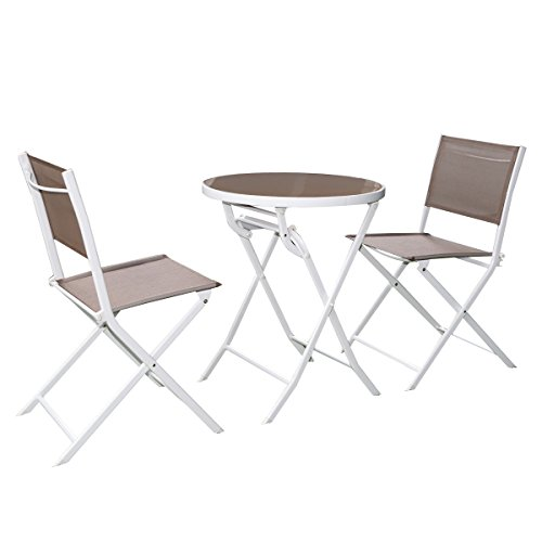 Giantex 3 Pc Brown Bistro Set Outdoor Garden Table ChairsPatio Furniture Folding Steel For Sale