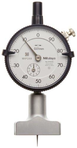 Mitutoyo 7210 Dial Depth Gauge, Indicator Type, 0-10mm Range, 0.01mm Graduation, +/-0.015mm Accuracy, 10mm Stroke, 40mm x 16mm Base, With Needle Probe 3x40mm Rod