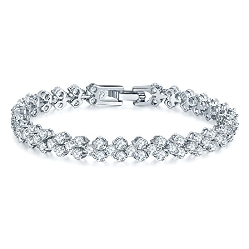 18k White Gold Bead (18K White Gold AAA Cubic Zirconia Wedding Bracelets Crystal Diamond-Cut Tennis Bracelet for Women,Birthday Gift)
