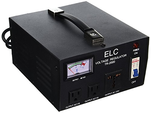 ELC TR-2000 2000 Watt Voltage Regulator with Transformer - Step Up/Down - 110V/220V - Circuit Breaker Protection (220 Voltage Regulator)