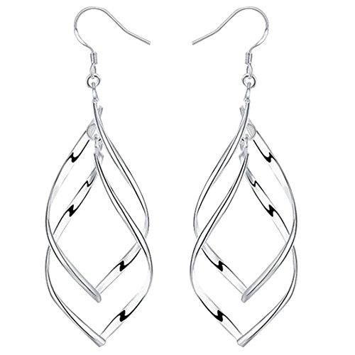 BOHG Jewelry Womens 925 Sterling Silver Plated Fashion Long Twist Double Leaf Wire Drop Dangle Earings (Twist Leaf Drop)