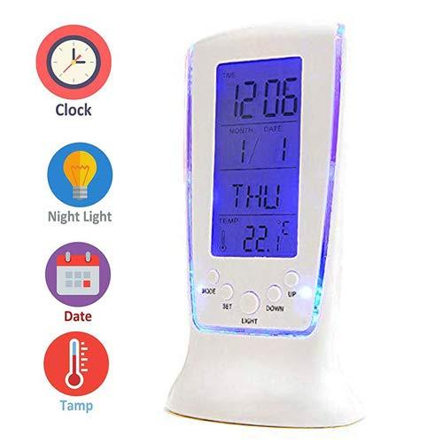 Digital Alarm Clock, Electronic LCD Alarm Clock with Backlight, Calendar and Temperature (White) Best Panda