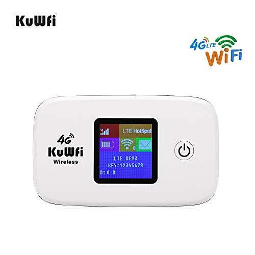 KuWFi Unlocked Travel Partner 4G LTE Wireless 4G Router with SIM Card Slot Support LTE FDD B1/B3 TDD B41 Work with Sprint in US and Europe Caribbean South America Africa Easy to Carry use Outdoor