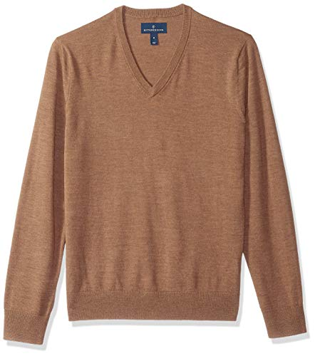 Sweater Brown Heather - BUTTONED DOWN Men's Italian Merino Wool Lightweight Cashwool V-Neck Sweater, Brown Heather, Large