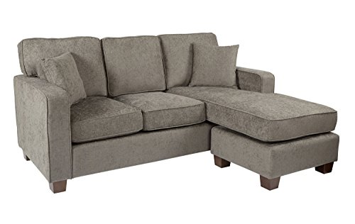 AVE SIX Russell Sectional Sofa with 2 Pillows and Coffee Finished Legs, Taupe Fabric (Sette Furniture)