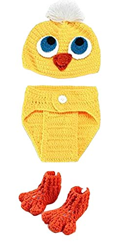 Infant Baby Chick Costume (Newborn Photography Props 3 Sets Infant Handmade Costume Cap Shoes Cute Yellow Chick Knitted Crochet Outfits Clothes Hat Dress for Baby)
