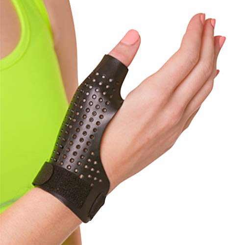 (BraceAbility Hard Plastic Thumb Splint | Arthritis Treatment Brace to Immobilize & Stabilize CMC, Basal and MCP Joints for Trigger Thumb, Tendonitis Pain, Sprains (Small - Right Hand) )