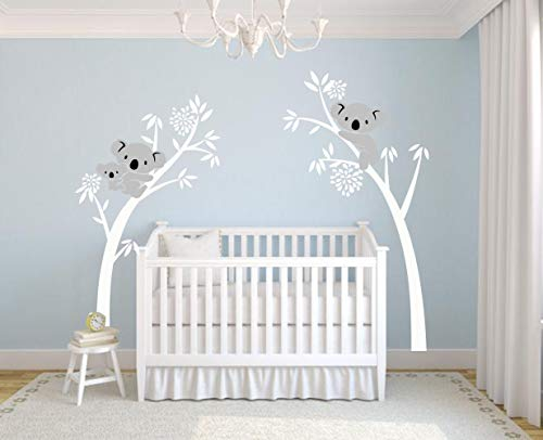 LUCKKYY Three Koalas Tree Branches Wall Decal Wall Sticker Baby Nursery Decor Kids Room Decoration (White) (Koala Tree)