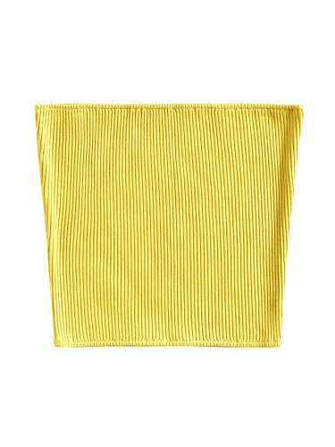 Ribbed Tube Top - SheIn Women's Sexy Strapless Basic Stretchy Bandeau Tube Top Yellow Medium