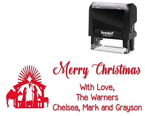 Stamps Family (Tailor Made Self-Inking Family Christmas Stamp. with Nativity Scene Image - Large Stamper with Variety of Designs and Ink Color.)