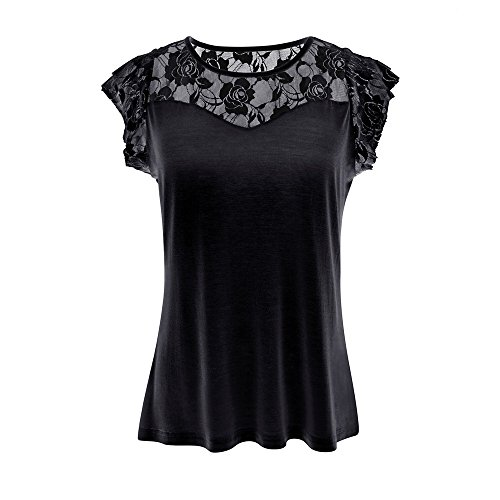 〓Londony〓 Womens Boat Neck Floral Lace Raglan Short Sleeve Shirt Top Sexy Sheer Blouse Mesh Crop Top Sweetheart Blouse Black