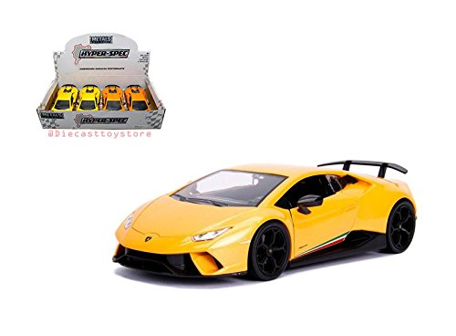 New DIECAST Toys CAR JADA 1:24 Display - Metals - Hyper-SPEC Huracan PERFORMANTE (Orange, Yellow) 1 Item Random Color Without Retail Box - Boxes Specs Color