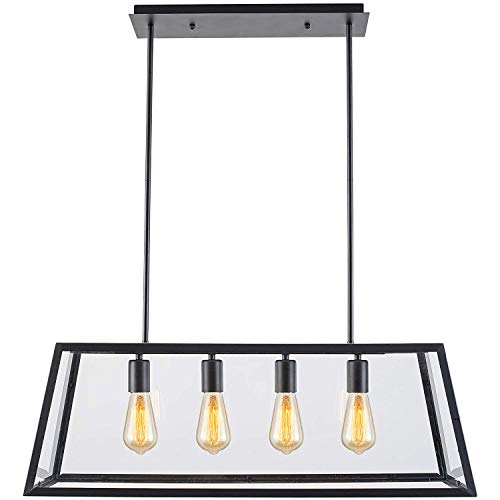 LAMPUNDIT 4-Light Industrial Island Pendant, Height-Adjustable Rectangle Chandelier, Matte Black Finish with Clear Glass Panels, Modern Kitchen Island Lighting ()