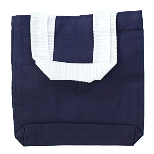 Multipurpose Cotton Canvas Tote Bags with White Handles (Small, Medium, Large ) (Small, Navy)