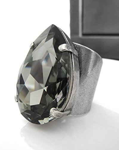 Large Teardrop Ring with Dark Grey Swarovski Crystal and Adjustable Band  Mens Womens Unisex