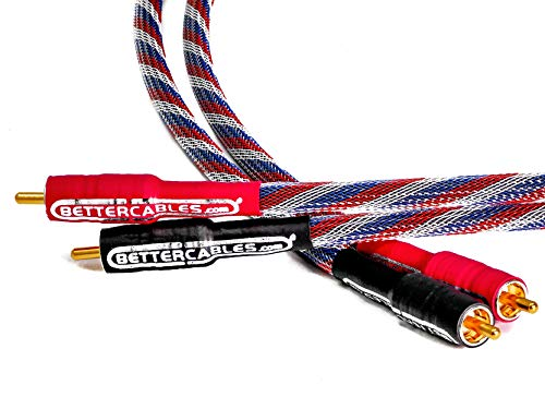 Better Cables RCA Cables - Stereo Pair (2 Cables) - Silver Serpent Patriot Edition Audio Interconnect Cable - High-End, High-Performance, Premium Hi-Fi Audio (3 - Cable Audio Interconnect Digital