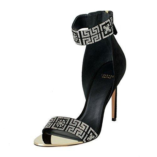 Leather Pumps Versace (Versace Women's Suede Leather High Heel Ankle Starp Open Toe Pumps Shoes Sz US 11 IT 41)