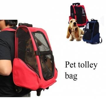 e8d9d2749db Pet Carrier Rolling Backpack Travel Backpack Trolley For Dogs And Cats  Portable Luggage Bag (RED